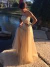 A-line Strapless Tulle Floor-length Beading Prom Dresses #Favs020103286