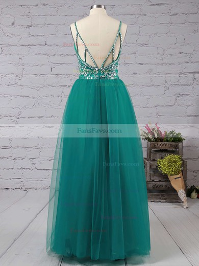 A-line V-neck Floor-length Tulle Prom Dresses with Beading #Favs020103544