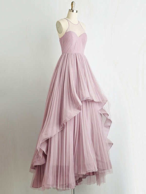 A-line Halter Floor-length Tulle Prom Dresses with Pleats #Favs020103607