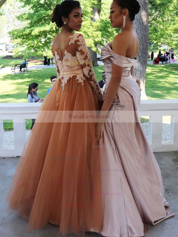 Princess Scoop Neck Floor-length Tulle Prom Dresses with Sashes Appliques Lace #Favs020103684