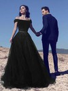 Princess Off-the-shoulder Tulle Sweep Train Beading Prom Dresses #Favs020103740