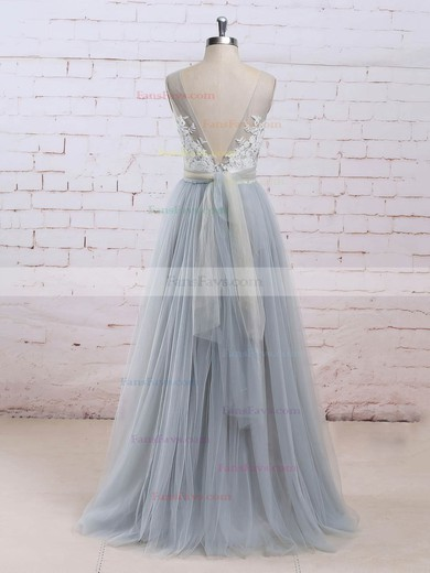 Princess V-neck Floor-length Tulle Prom Dresses with Appliques Lace Sashes #Favs020104853