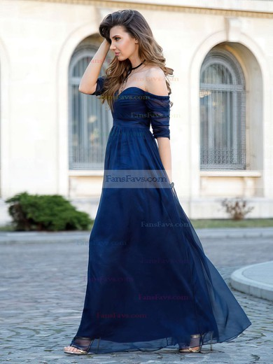 A-line Off-the-shoulder Tulle Floor-length Sashes / Ribbons Prom Dresses #Favs020104860