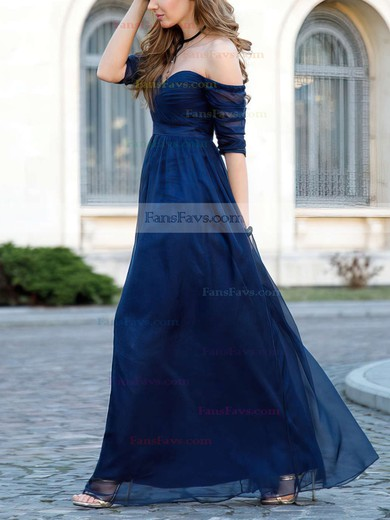 A-line Off-the-shoulder Floor-length Tulle Prom Dresses with Sashes Ruffle #Favs020104860