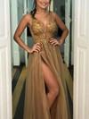 A-line V-neck Tulle Floor-length Beading Prom Dresses #Favs020104885
