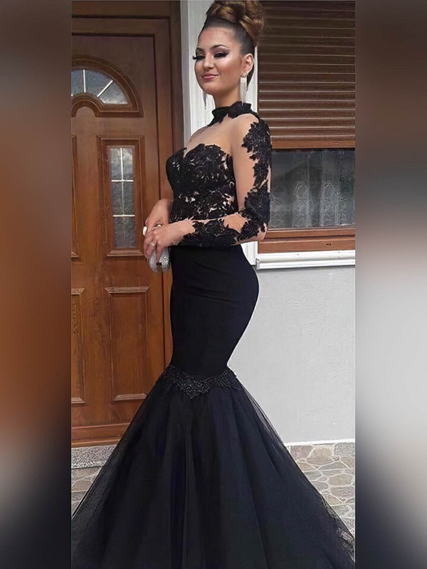 Trumpet/Mermaid High Neck Floor-length Tulle Prom Dresses with Appliques Lace #Favs020104886