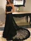 A-line Sweetheart Tulle Sweep Train Appliques Lace Prom Dresses #Favs020104894
