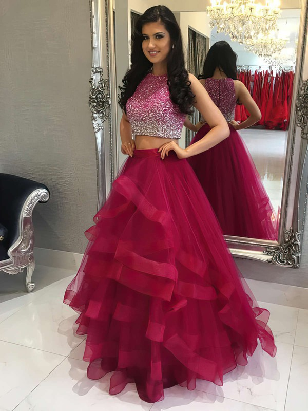 A-line Scoop Neck Floor-length Tulle Prom Dresses with Sequins #Favs020104914
