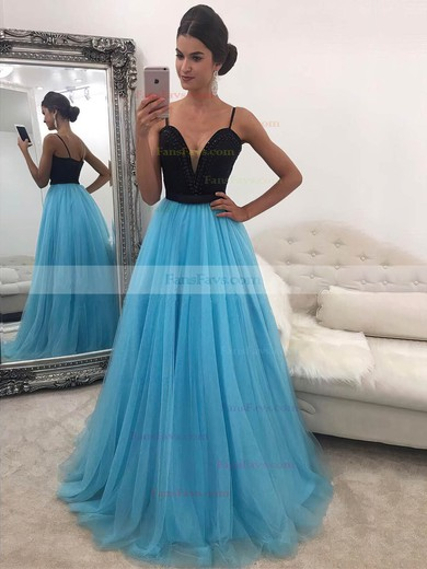 Princess V-neck Tulle Floor-length Beading Prom Dresses #Favs020104942