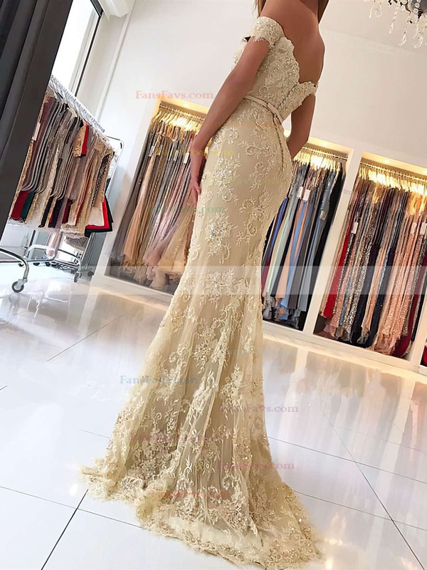 Trumpet/Mermaid Off-the-shoulder Lace Sweep Train Appliques Lace Prom Dresses #Favs020104963