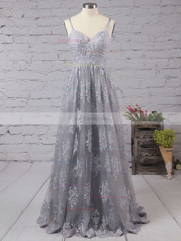 A-line V-neck Tulle Sweep Train Appliques Lace Prom Dresses #Favs020104261