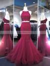 Trumpet/Mermaid Halter Tulle Floor-length Appliques Lace Prom Dresses #Favs020104980