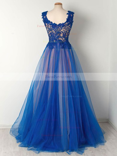 Princess Scalloped Neck Floor-length Tulle Prom Dresses with Appliques Lace Ruffle #Favs020105008