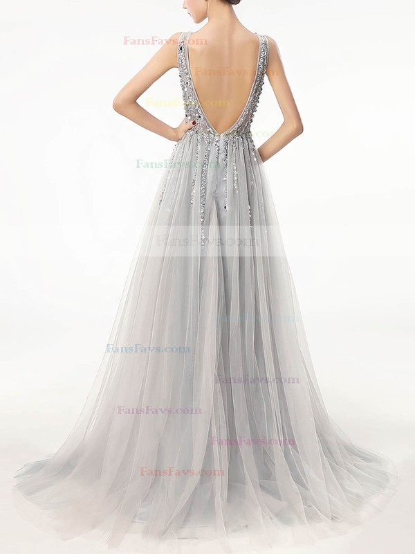 A-line V-neck Sweep Train Tulle Prom Dresses with Sequins Beading #Favs020105193