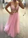 A-line Scoop Neck Tulle Floor-length Appliques Lace Prom Dresses #Favs020105238