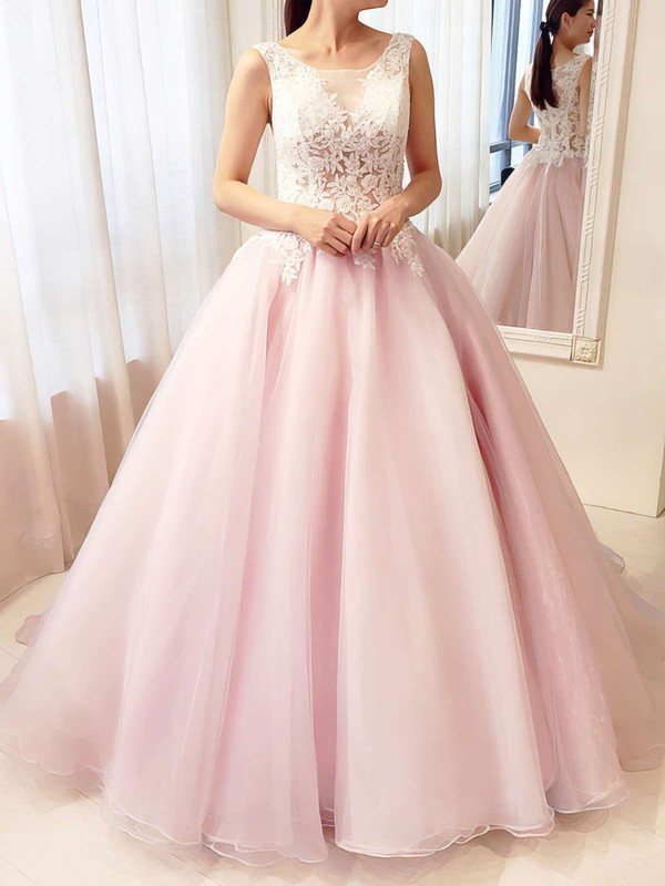Ball Gown Scoop Neck Tulle Floor-length Appliques Lace Prom Dresses #Favs020105413