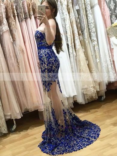 Trumpet/Mermaid Sweetheart Tulle Sweep Train Beading Prom Dresses #Favs020105468