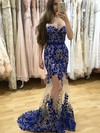 Trumpet/Mermaid Sweetheart Sweep Train Tulle Prom Dresses with Appliques Lace Beading #Favs020105468