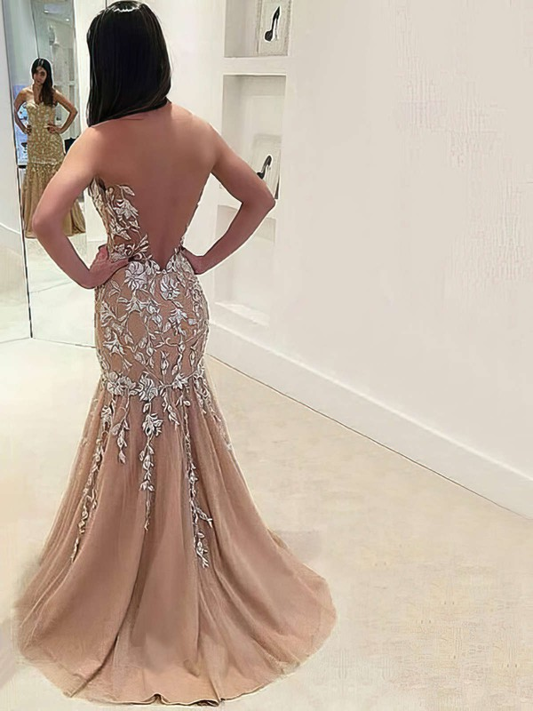 Trumpet/Mermaid Sweetheart Sweep Train Tulle Prom Dresses with Appliques Lace #Favs020105541