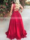 Princess V-neck Tulle Floor-length Appliques Lace Prom Dresses #Favs020105572