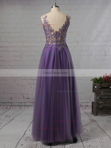 Princess V-neck Floor-length Tulle Prom Dresses with Appliques Lace Beading #Favs020105576