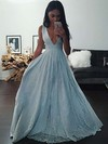 A-line V-neck Floor-length Tulle Prom Dresses with Appliques Lace Beading #Favs020104343