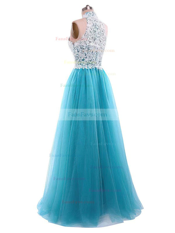 A-line High Neck Tulle Floor-length Sequins Prom Dresses #Favs020105687