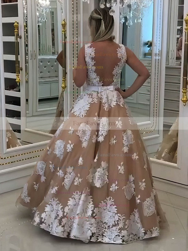 Princess V-neck Tulle Floor-length Appliques Lace Prom Dresses #Favs020105756