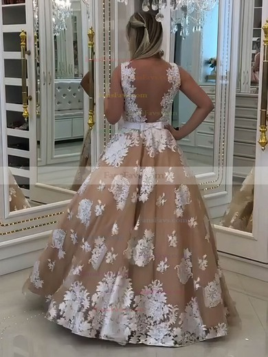 Princess V-neck Tulle Floor-length Appliques Lace Prom Dresses #Favs020105756