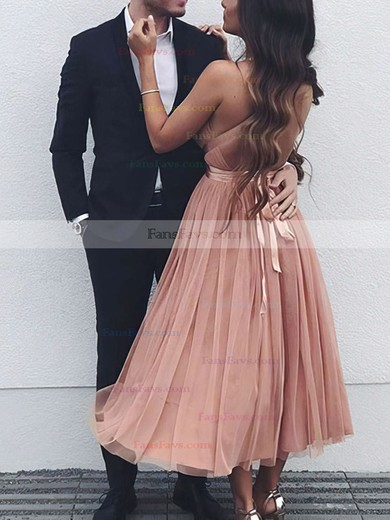 A-line V-neck Tea-length Tulle Prom Dresses with Sashes Ruffle #Favs020105823