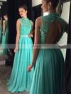 A-line High Neck Chiffon Floor-length Beading Prom Dresses #Favs020102443