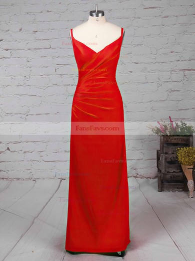 Sheath/Column V-neck Silk-like Satin Ankle-length Split Front Prom Dresses #Favs020104358
