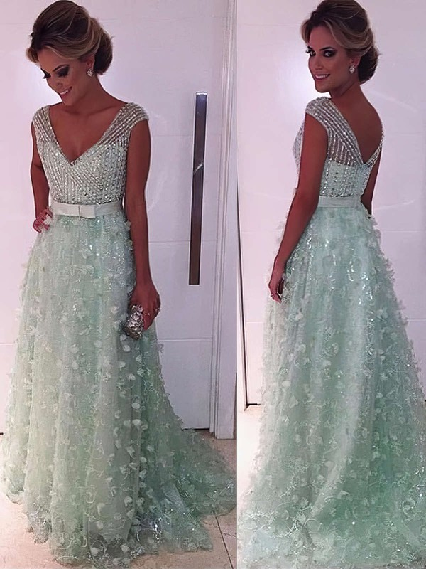 A-line V-neck Lace Tulle Sweep Train Beading Prom Dresses #Favs020104353