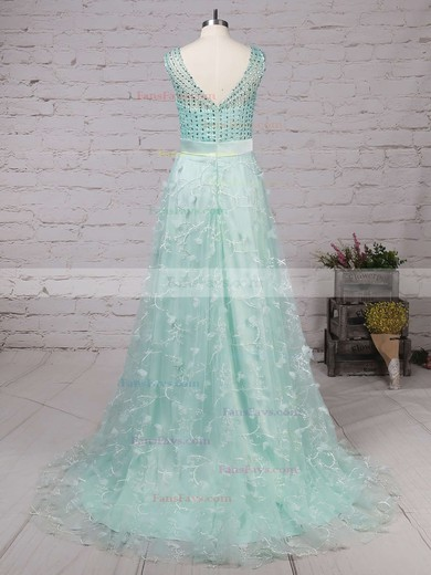 A-line V-neck Sweep Train Tulle Prom Dresses with Beading Sashes #Favs020104353