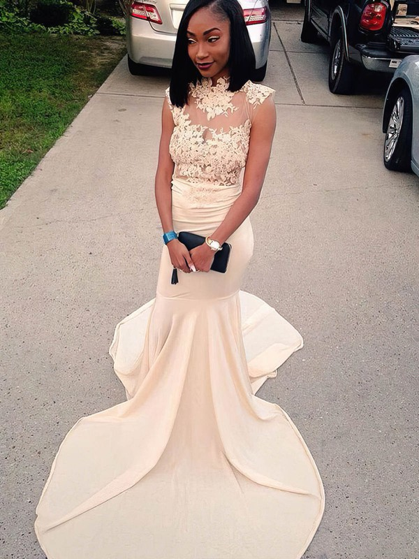 Trumpet/Mermaid High Neck Sweep Train Jersey Prom Dresses with Appliques Lace #Favs020105683