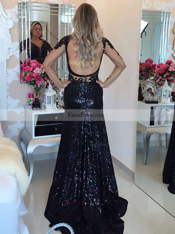 Trumpet/Mermaid Scoop Neck Sweep Train Tulle Sequined Prom Dresses with Appliques Lace #Favs020105811