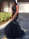 Trumpet/Mermaid Scoop Neck Tulle Sequined Floor-length Prom Dresses #Favs020105812