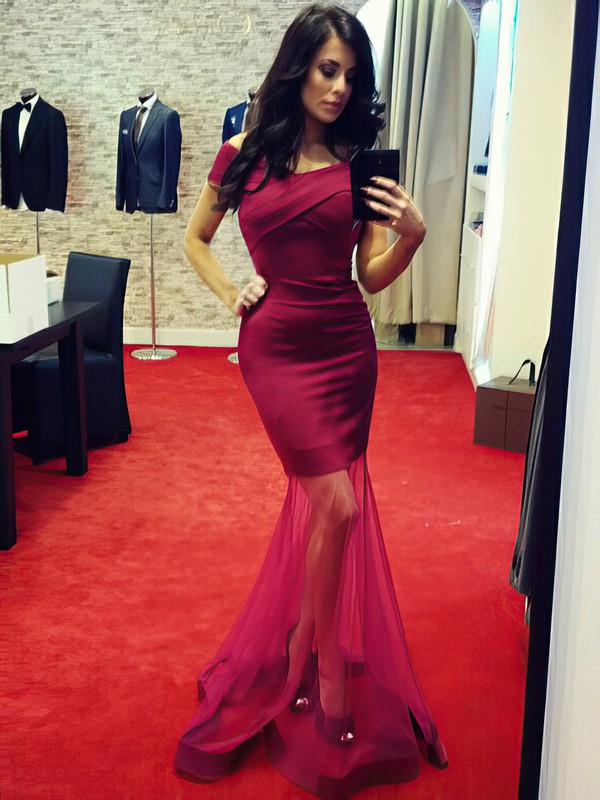 Trumpet/Mermaid Off-the-shoulder Silk-like Satin Floor-length Ruffles Prom Dresses #Favs020105504
