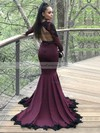 Trumpet/Mermaid V-neck Jersey Sweep Train Appliques Lace Prom Dresses #Favs020105612