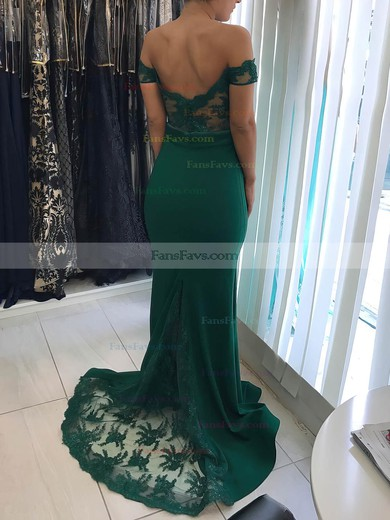 Trumpet/Mermaid Off-the-shoulder Silk-like Satin Sweep Train Appliques Lace Prom Dresses #Favs020105691