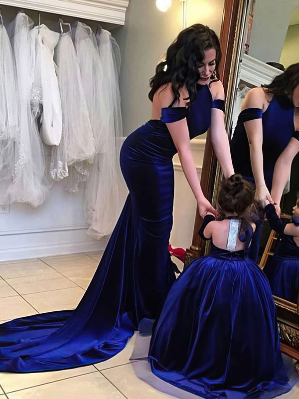 Trumpet/Mermaid Halter Court Train Velvet Prom Dresses with Ruffle #Favs020103714