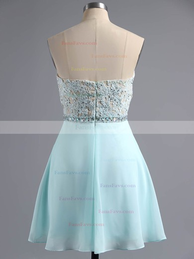 School A-line Sweetheart Chiffon Appliques Lace Short/Mini Homecoming Dresses #Favs020100883