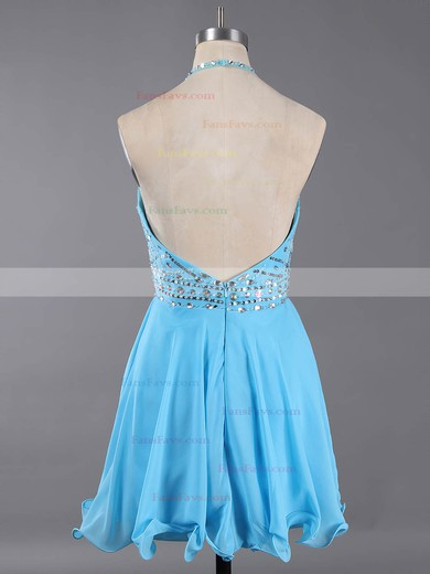 Backless A-line Halter Chiffon Crystal Detailing Short/Mini Classy Homecoming Dresses #Favs020100982
