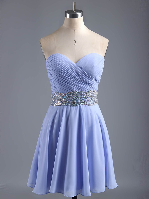 A-line Sweetheart Short/Mini Chiffon Prom Dresses with Beading Sashes #Favs020101407