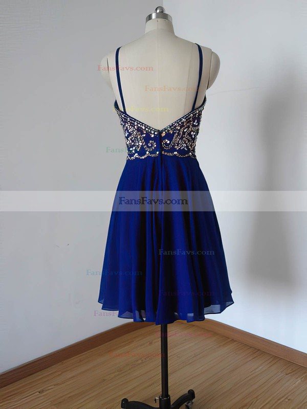 Fabulous Scoop Neck Chiffon Beading Royal Blue Short/Mini Prom Dress #Favs020102113