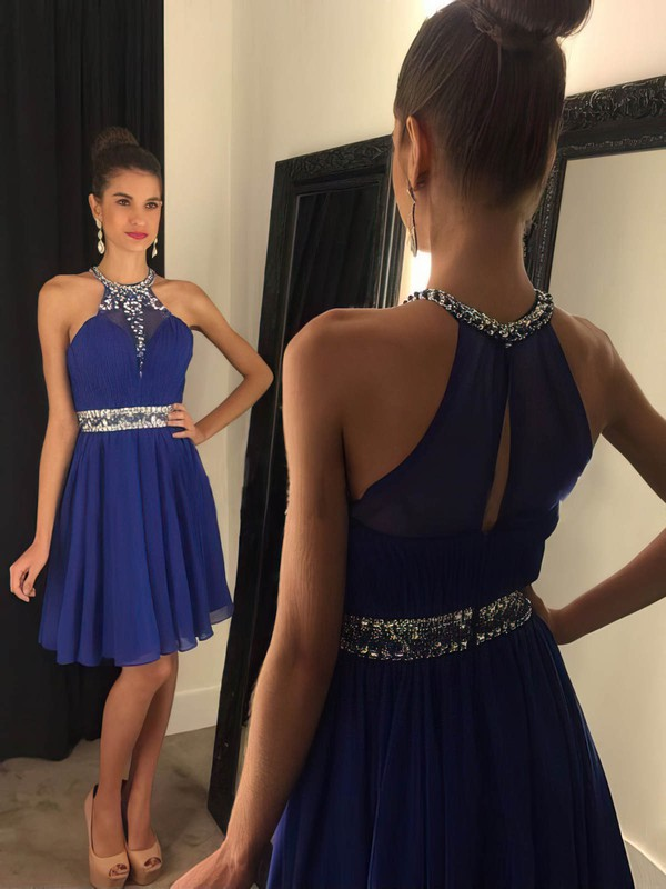 A-line Scoop Neck Chiffon Short/Mini Beading Royal Blue Prom Dresses #Favs020102478