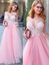 Princess Scoop Neck Floor-length Tulle Prom Dresses with Appliques Lace #Favs020104370