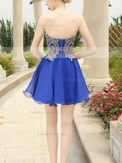 A-line Sweetheart Short/Mini Chiffon Prom Dresses with Appliques Lace #Favs020103460