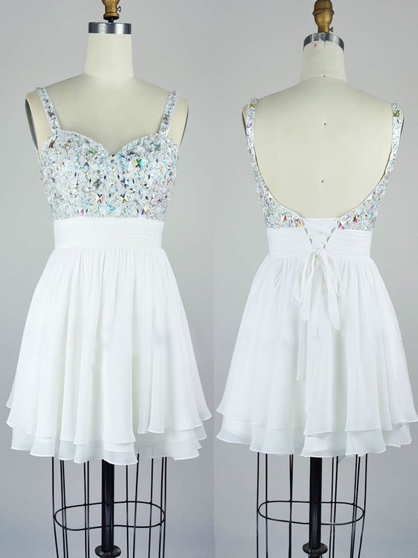 A-line V-neck Chiffon Short/Mini with Crystal Detailing Prom Dresses #Favs020104129