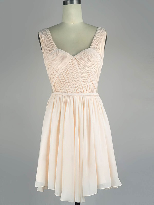 A-line V-neck Short/Mini Chiffon Prom Dresses with Sashes #Favs020104136